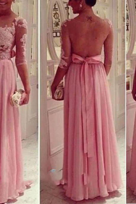 Pink Evening Dresses, Sparking Evening Gowns, Vesitidos Prom Dresses, Appliques Party Dresses, Sheer Crew Formal Dress, Long Transparent Special Occasion Dress