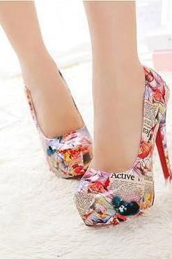 2015 summer sexy fashion Beautiful Painting Heels shoes