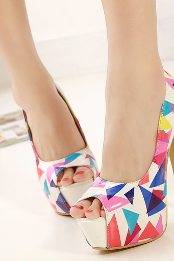 2015 summer fashion sexy Club Wear Color Block Super High Peep-Toe Thin Heels shoes