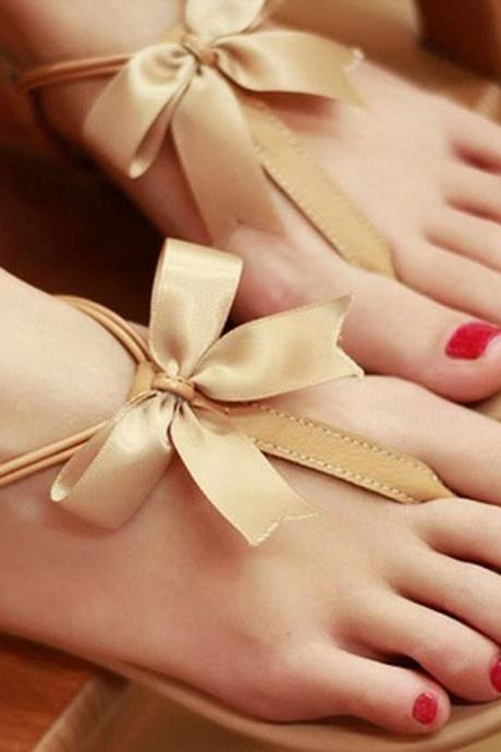 2015 summer fashion Fashion Leather Bow Sandals