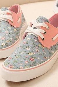 2015 summer fashion Floral Canvas Fashion Flat Shoes