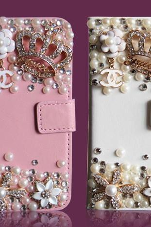 6c 6s plus Pearl floral crown diamond Hard Back Mobile phone Case Cover bling wallet Case Cover for iPhone 4 4s 5 7plus 5s 6 6 plus Samsung galaxy s7 s4 s5 s6 note10 4