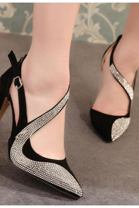 2015 summer new fashion high heels Ultra Fine With Word -Type Buckle Belt Buckle With Rhinestones Sandals Kogan