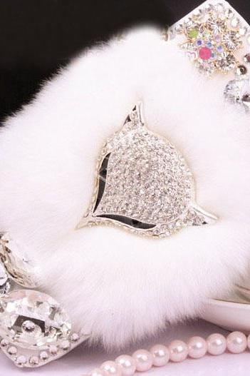 6c 6s plus Fashion diamante fox Hard Back fur Mobile phone Case Cover bling Rhinestone Case Cover for iPhone 4 4s 5 7 5s 6 6 plus Samsung galaxy s7 s4 s5 s6 note10 4