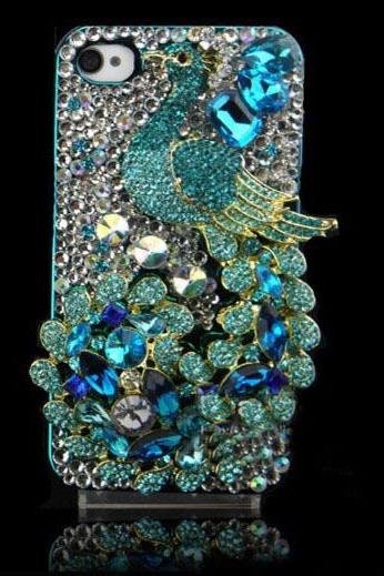 6c 6s plus Unique Green Peacock rhinestone Hard Back Mobile phone Case Cover bling diamond Case Cover for iPhone 4 4s 5 7plus 5s 6 6 plus Samsung galaxy s7 s4 s5 s6 note8.0 4