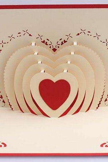Creative 3D heart confession card for girlfriend, paper cutting love wedding card for bride showing love card for wife