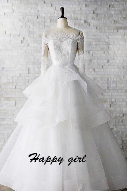 Custom Made White Off Shoulder Neckline Lace Tiered Ruffle Wedding Ball Gown