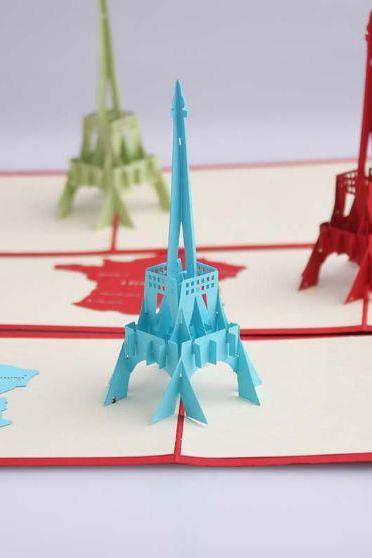3D romantic Eiffel tower greeting card, paper cutting 3D red Eiffel wedding cards thank you card for maid of honor