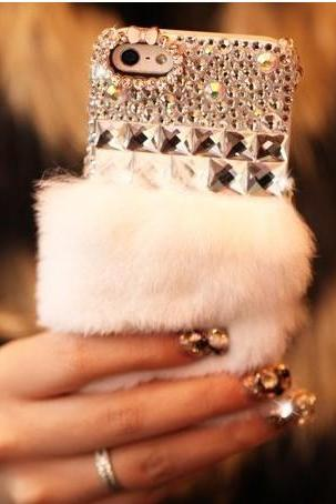 6s plus 6c Fur diamond Hard Back Mobile phone Case Cover sparkly fashion girly Case Cover for iPhone 4 4s 5 7 5s 6 6 plus Samsung galaxy s7 s4 s5 s6 note10 4