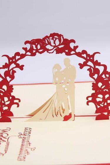 Novelty item Sweet weeding bride and groom congratulation card ,lovely 3D wedding party wedding invitation wedding gift for bride