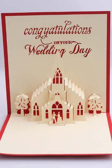 paper craft three dimensional hallow out church wedding card for groom, unique paper engraving wedding invitation wedding congratulation card