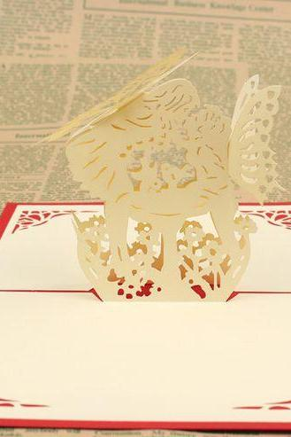 unique 3D paper cutting kissing angel wedding card for bride, art paper craft proposal present wedding congratulation cards