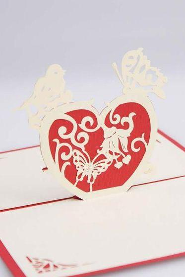 creative love confession present heart in heart greeting card for husband, paper bird and butterfly weddings post card for her
