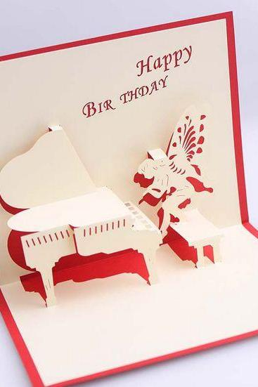 Novelty items 3D birthday card for her ,funny paper craft spirit piano pattern girlfriend happy birthday cards
