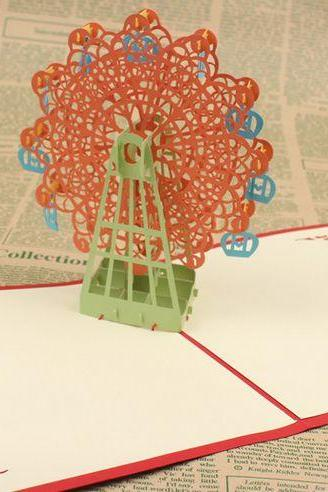 three dimensional Chinese style paper-cut greeting card , pink 3D ferris wheel congratulation card Valentines card for her
