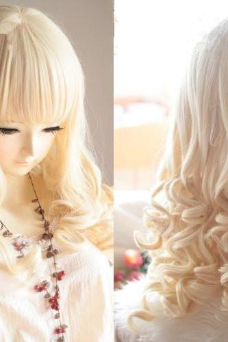 HOT Gold Heat Friendly Long Curly Wave Princess Cosplay Party Hair Wig 26'' 65cm