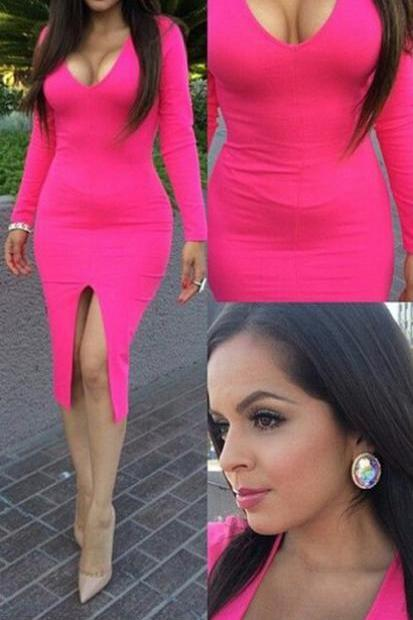 V Neck Long Sleeve Pink Body Con Dress