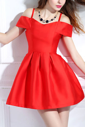 Cold Shoulder Short Skater Dress