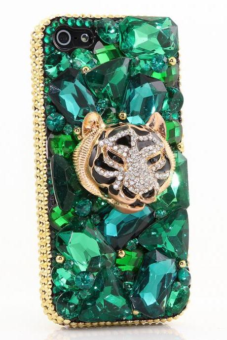 Bling Crystals Phone Case for iPhone 6 / 6s, iPhone 6 / 6s PLUS, iPhone 4, 5, 5S, 5C, Samsung Note 2, Note 3, Note 4, Galaxy S3, S4, S5, S6, S6 Edge, HTC ONE M9 (EMERALD TIGER DESIGN ) By LuxAddiction
