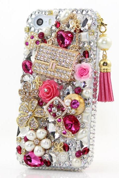Bling Crystals Phone Case for iPhone 6 / 6s, iPhone 6 / 6s PLUS, iPhone 4, 5, 5S, 5C, Samsung Note 2, Note 3, Note 4, Galaxy S3, S4, S5, S6, S6 Edge, HTC ONE M9 (FASHION PURSE WITH TASSLE DESIGN) By LuxAddiction