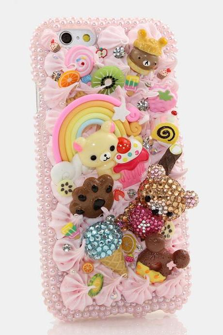 Bling Crystals Phone Case for iPhone 6 / 6s, iPhone 6 / 6s PLUS, iPhone 4, 5, 5S, 5C, Samsung Note 2, Note 3, Note 4, Galaxy S3, S4, S5, S6, S6 Edge, HTC ONE M9 (YUMMY BEAR DESIGN) By LuxAddiction