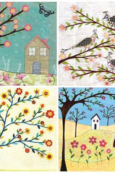 Art Print Set 5' by 5' - Flowers,Birds and Houses