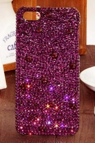 6s plus 6c Crystal Purple Sparkly diamond Hard Back Mobile phone Case Cover bling Rhinestone Case Cover for iPhone 4 4s 5 7plus 5s 6 6 plus Samsung galaxy s7 s4 s5 s6 note10 4