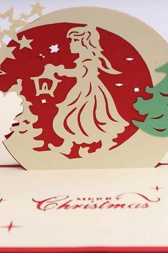 Chinese traditional handicraft paper cute 3D Christmas angel holiday card , hard paper goods art Christmas gift for her