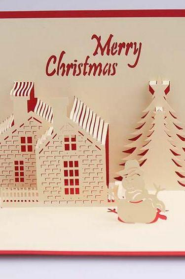 Art design traditional craft paper cutting Christmas house holiday cards on Christmas, Merry Christmas quote Christmas card for him