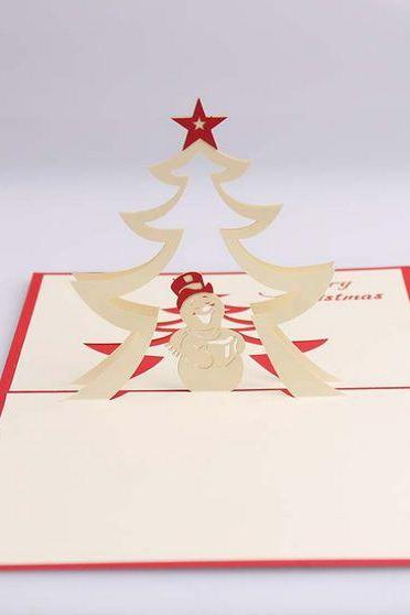 Art paper craft kawaii 3D snowman and Christmas star greeting card on Christmas, unique Christmas gift Christmas crads