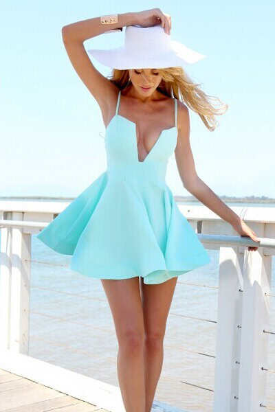 Cheap Sexy V Neck Spaghetti Strap Sleeveless Blue A Line Mini Dress