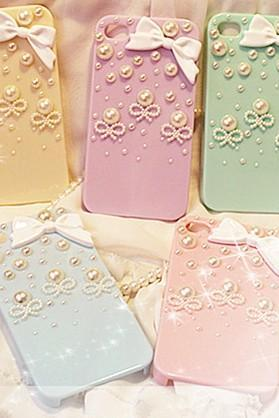 6s plus 6c Shinning Bow Pearl Hard Back Mobile phone Case Cover bling girly Case Cover for iPhone 4 4s 5 7plus 5s 6 6 plus Samsung galaxy s7 s4 s5 s6 note8.0 4