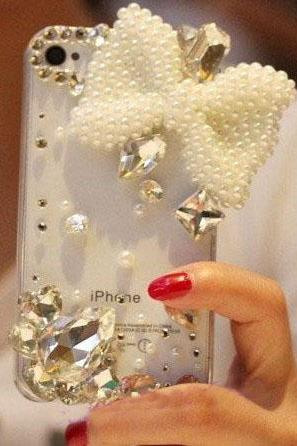 6s plus 6c White bow Rhinestone Hard Back Mobile phone Case Cover bling crystal Case Cover for iPhone 4 4s 5 7plus 5s 6 6 plus Samsung galaxy s7 s4 s5 s6 note10 4