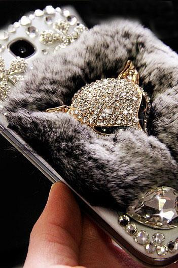 6s plus 6c Luxury Floral diamond fur Hard Back Mobile phone Case Cover fox Case Cover for iPhone 4 4s 5 7plus 5s 6 6 plus Samsung galaxy s7 s4 s5 s6 note10 4