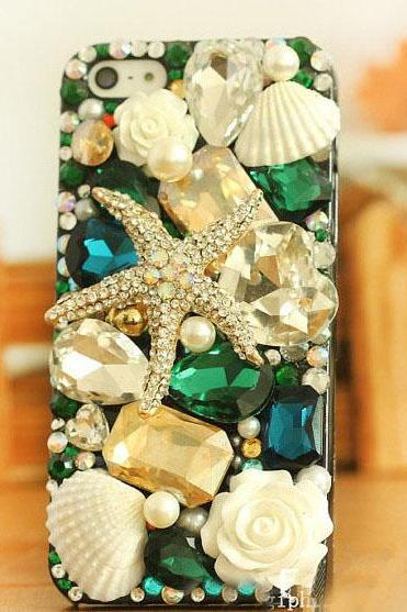6s plus 6c Starfish floral Rhinestone Hard Back Mobile phone Case Cover bling crystal Case Cover for iPhone 4 4s 5 7plus 5s 6 6 plus Samsung galaxy s7 s4 s5 s6 note10 4