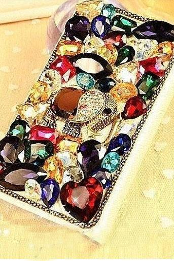 6s plus 6c Muticolored Rhinestone Hard Back Mobile phone Case Cover bling elephant leather Case Cover for iPhone 4 4s 5 7 5s 6 6 plus Samsung galaxy s7 s4 s5 s6 note8.0 4