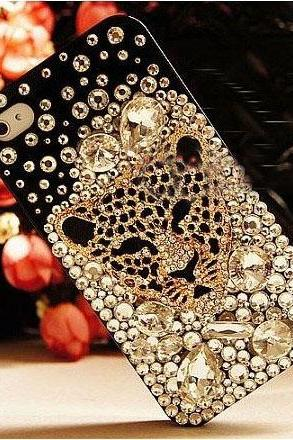 6s plus 6c Sparkly Leopard head diamond Hard Back Mobile phone Case Cover bling handmade crystal Case Cover for iPhone 4 4s 5 7 5s 6 6 plus Samsung galaxy s7 s4 s5 s6 note10 4