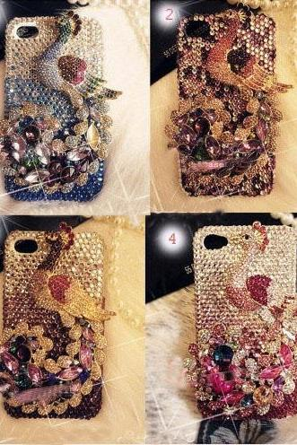 6s plus 6c Sparkly luxury Peacock diamond Hard Back Mobile phone Case Cover bling handmade crystal Case Cover for iPhone 4 4s 5 7 5s 6 6 plus Samsung galaxy s7 s4 s5 s6 note8.0 4