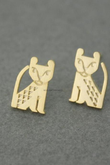 Cute Animal Leopard Panther,Baby Lion, Egyptian cat stud Earrings, E0577G