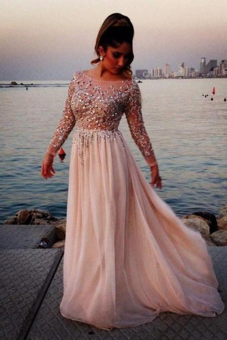 2015 Sexy New Chic Sequins Beaded Chiffon Long Sleeves Wedding Dress Bridal Gown