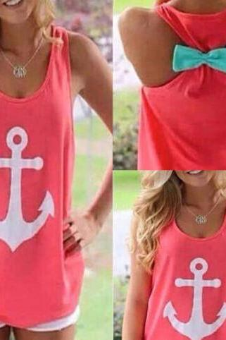 7198501 BOWKNOT ANCHOR PRINTED SLEEVELESS KNIT VEST
