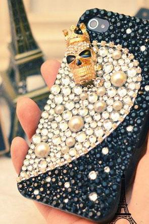 6s plus 6c Hot Skull diamond Hard Back Mobile phone Case Cover bling pearl Rhinestone Case Cover for iPhone 4 4s 5 7 5s 6 6 plus Samsung galaxy s7 s4 s5 s6 note10 4