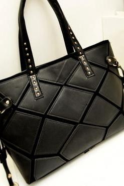 Chic Pure Black Fashion Handbag