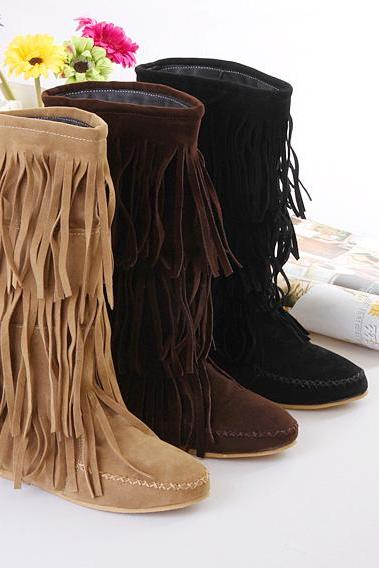 Women's 3 Layer Fringe Tassels Flat Heel Boots Decoration Mid-Calf Slouch Shoes