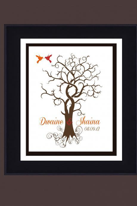Fingerprint , personalized Wedding tree, guestbook,wedding signature tree 20x28 150 signatures guest book alternative