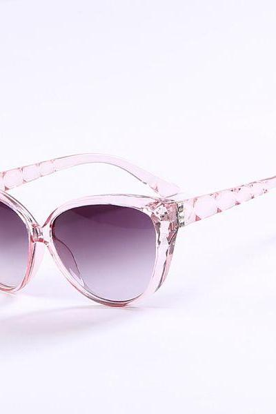 Cat eye wave frame sun protector transparent pink sunglasses