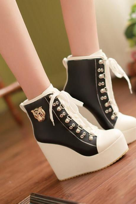 Women's Buckle Lace Up Wedge High Heels Platform Boots Sneakers Shoes Plus Size
