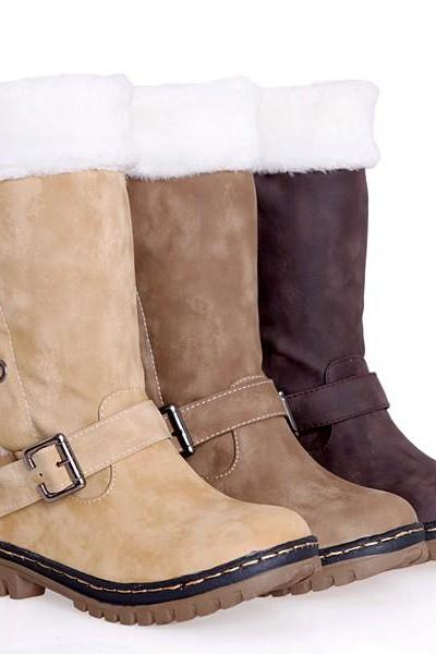Retro fashion snow boots warm cotton boots leg winter boots women