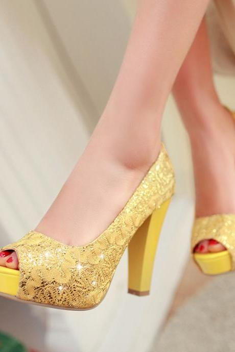 Round Toe Sequined Cloth High Heels Women Pumps Shoes Party Pumps 2015 Brand New Design Less Platform Pumps
