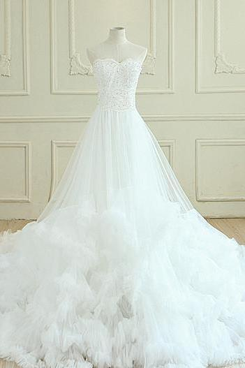 Wedding Dress,2015 Wedding Dress,Lace Wedding Dress,Tulle Wedding Dress,Beading Wedding Dress,Floor-length Wedding Dresses,A line Wedding Dresses,Sleeveless Wedding Dress,Strapless Wedding Dress,SweepTrain Wedding Dress,Bridal Dresses,Romantic Wedding Dress,Wedding Gowns